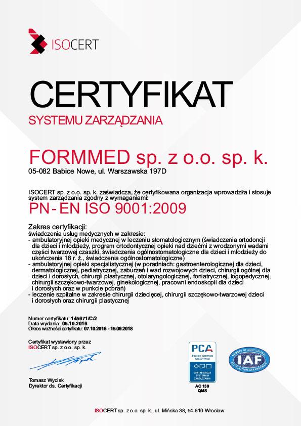 Formmed - Certyfikat ISO 2017