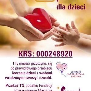 Przekaż 1% podatku Fundacji Rozszczepowe Marzenia (z dopiskiem FORMMED)